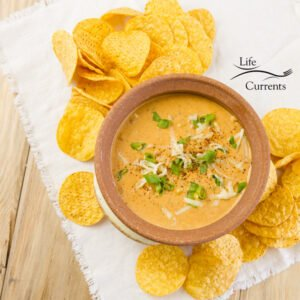 top down view of Mexican Chili Cheese Dip with tortilla chips