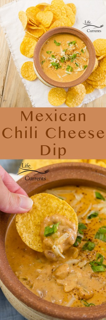 Long pin for Pinterest with two images of Mexican Chili Cheese Dip Recipe
