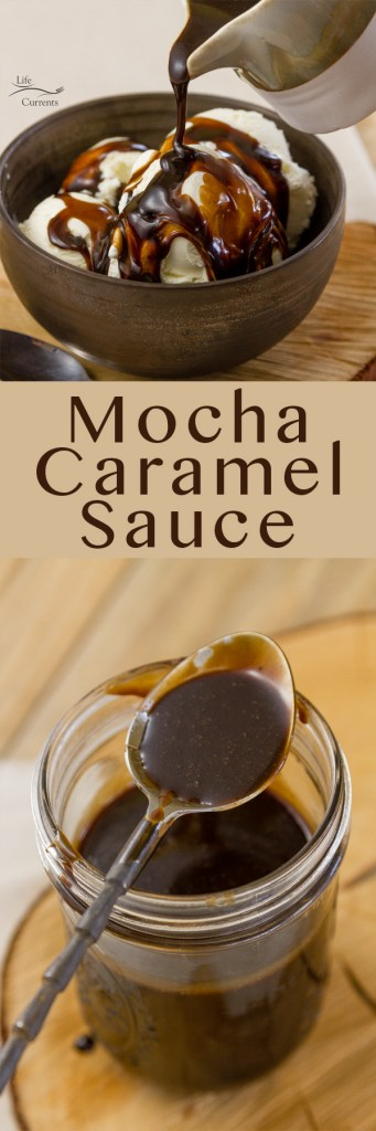 Mocha Caramel Sauce long pin with two images for Pinterest