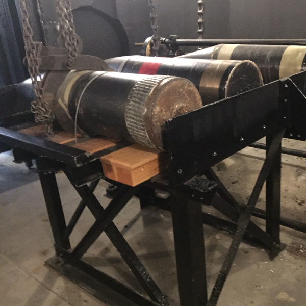 Inside the ammunition room where they stored the projectiles and gun powder. This is a machine to help raise the shells up to the guns.