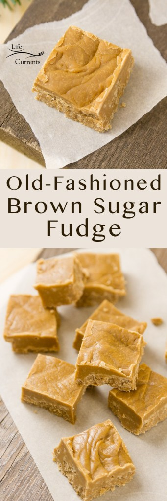 pinterest long pin with two images of Brown Sugar Fudge