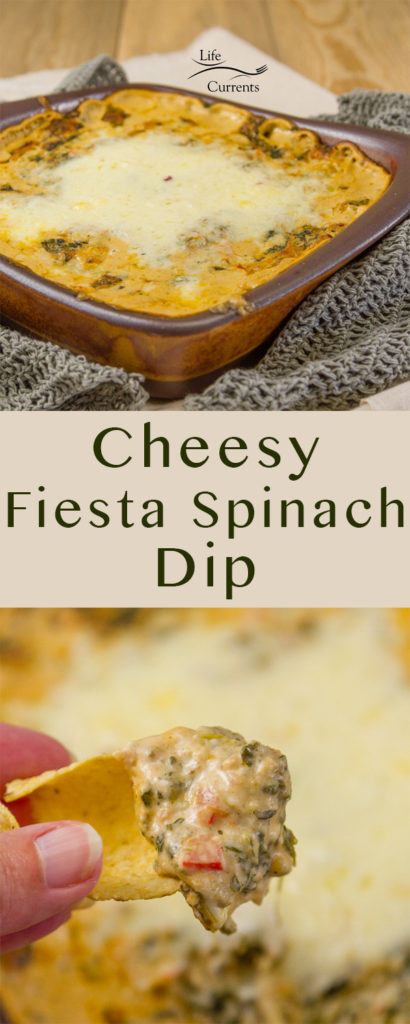 two images of Cheesy Fiesta Spinach Dip with a title for a long pin for Pinterest