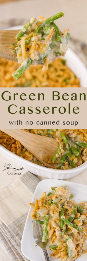 tow images of green bean casserole with a title for a Pinterest long pin