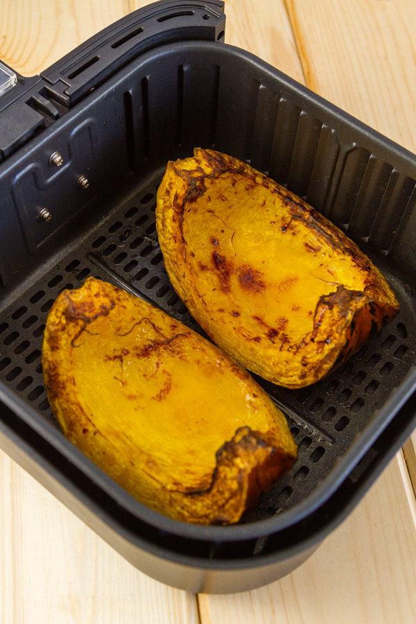 roasted squash from the air fryer still in the basket