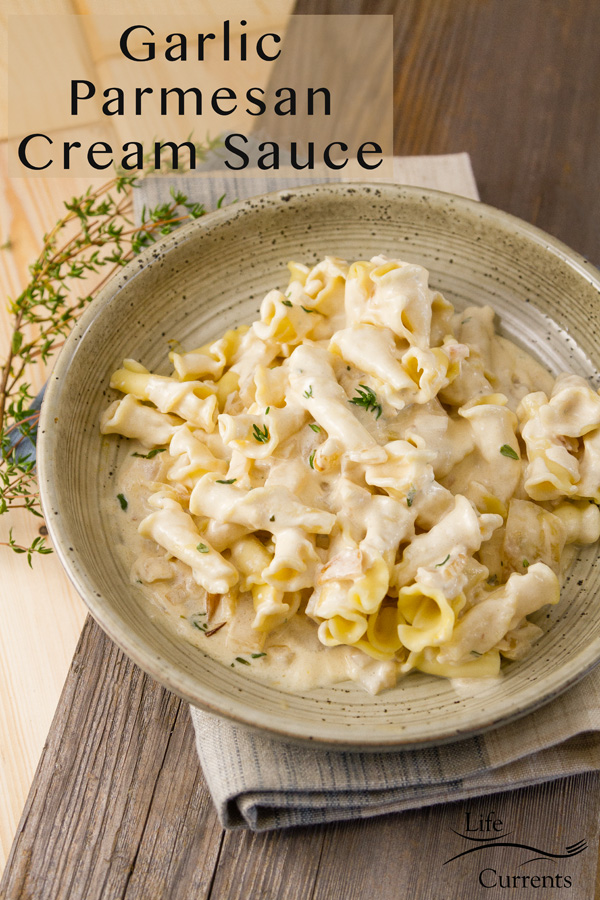 Garlic Parmesan Cream Sauce over pasta in a serving dish on a towel with the title