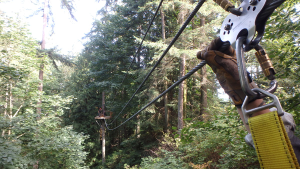 Zipline on Camano Island from one platform in the trees looking to another platform with the gear in the picture