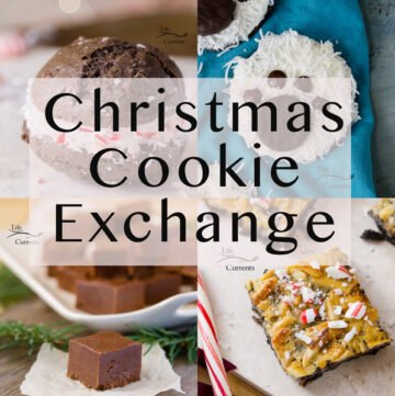 Chrismas Cookie Exchange collage with Polar bear paw print cookies, peppermint brownie cookies, mocha fudge, and peppermint magic bars