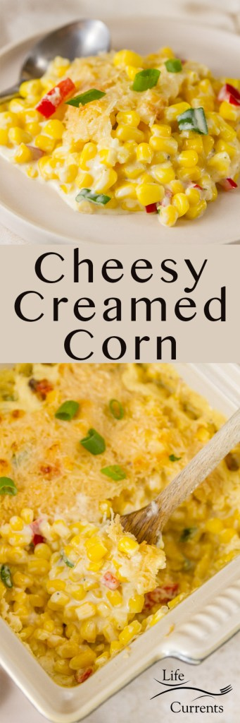 Creamed Corn long pin for Pinterest with 2 images and a title