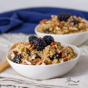 square crop of two bowls of Breakfast Quinoa Bowl with Blackberries