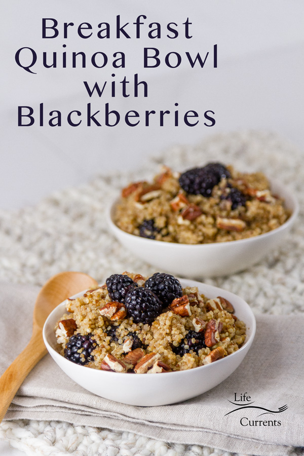 two bowls of Breakfast Quinoa Bowl with Blackberries on a white cloth with a wooden spoon and the title