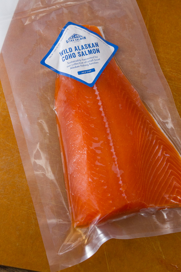 Roasted Salmon Risotto made with beautiful wild Alaskan COHO Salmon this is in the vacuum pack wrapping