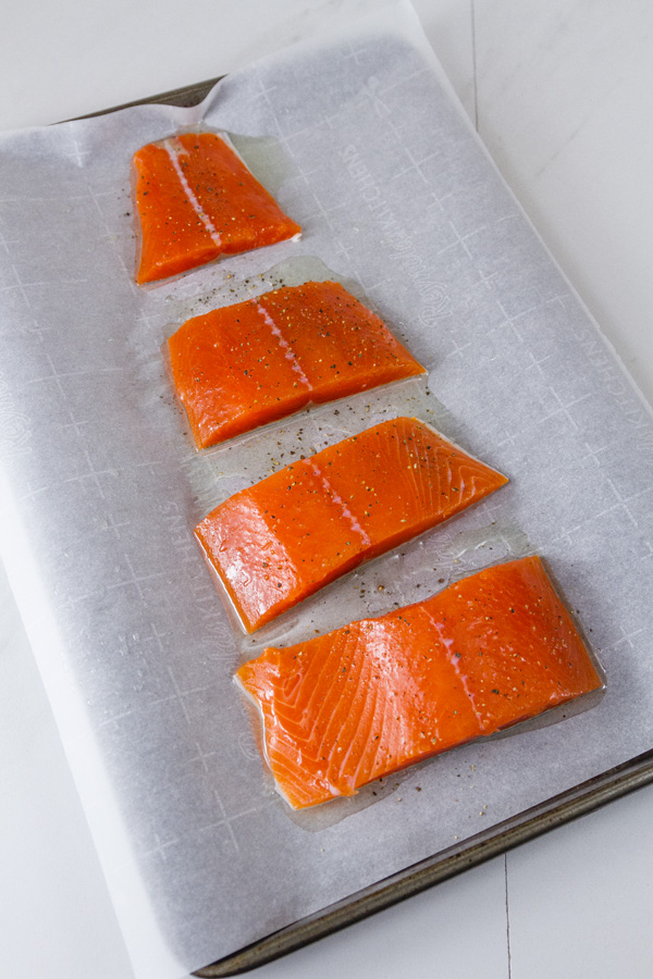 Salmon cut into 4 fillets for Roasted Salmon Risotto