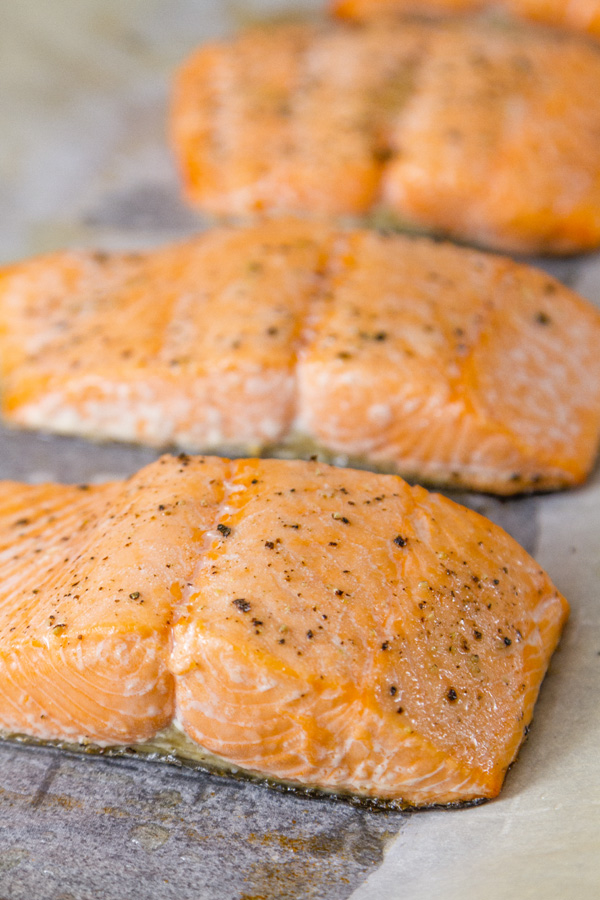 Roasted Salmon Risotto - here is the roasted salmon on a rimmed tray fresh from the oven
