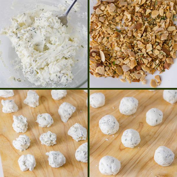 how to make Pepper Jelly Cheese Balls with collage of 4 step by step photos
