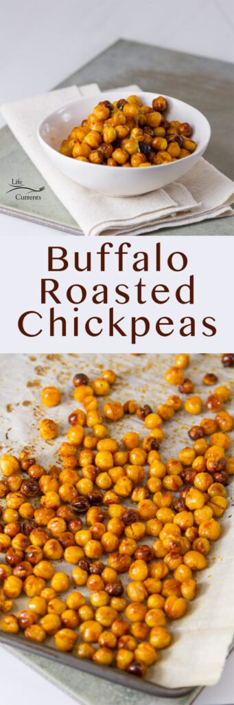 Buffalo Roasted Chickpeas long pin for Pinterest with 2 images