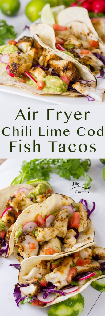 two images of Air Fryer Chili-Lime Cod Fish Tacos plus title in a Pinterest long pin