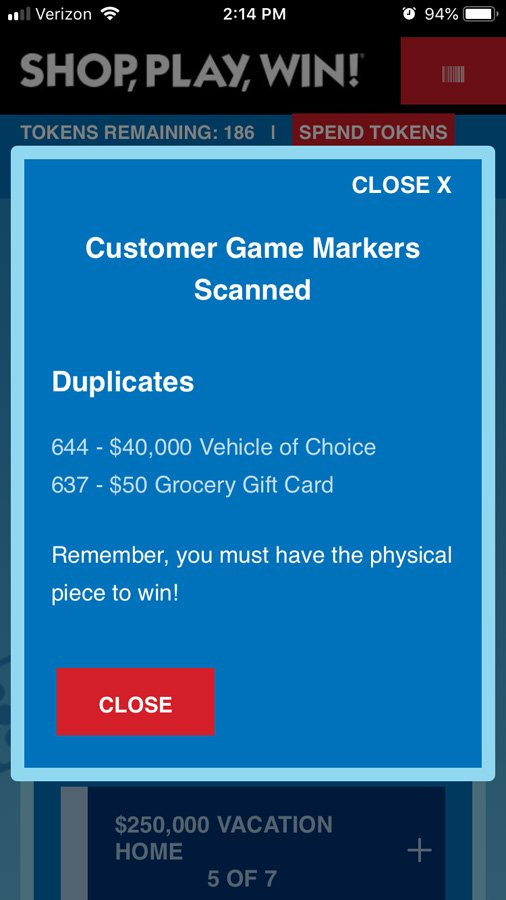 screen shot of the Shop Play Win app tracking the Monopoly Shop Play Win Game for How to play and win Safeway Monopoly Shop Play Win