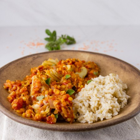 Red Lentil and Artichoke Stew with brwon rice in a brown bowl