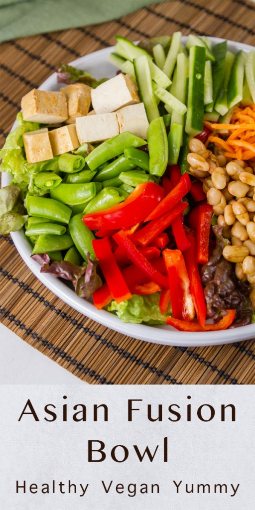 Title image for Asian Fusion Bowl with the white bowl full of veggies