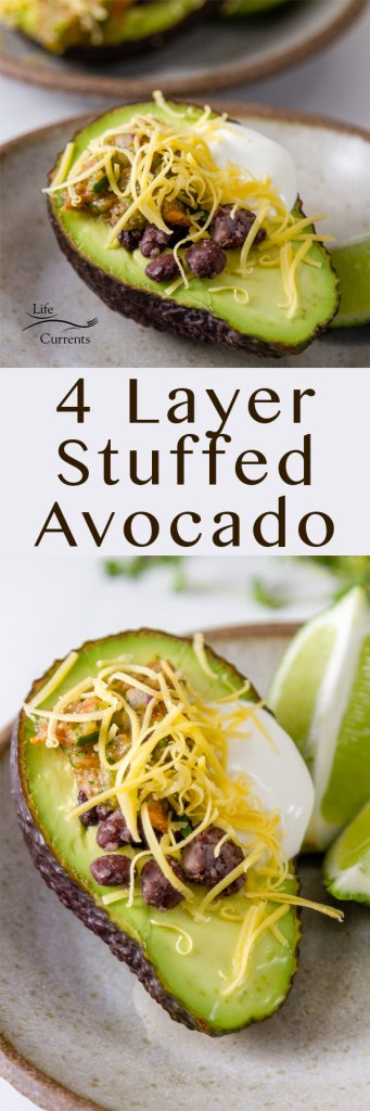 4 Layer Stuffed Avocados with two images for pinterest long pin