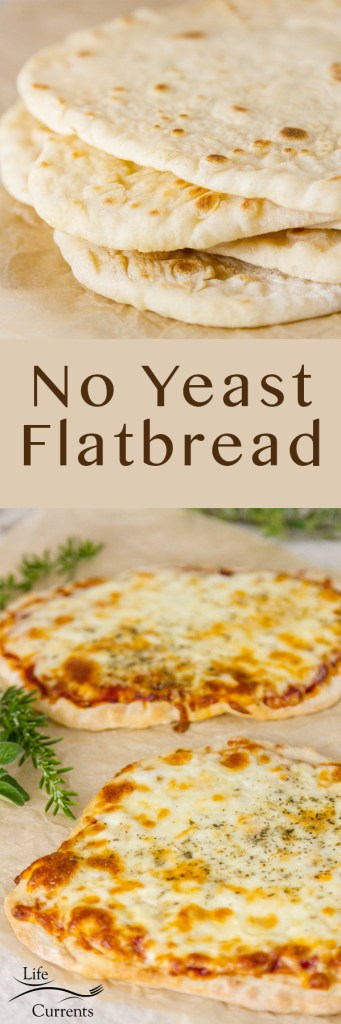 Two images of No yeast flatbreads one stacked one made into pizza long pin for Pinterest