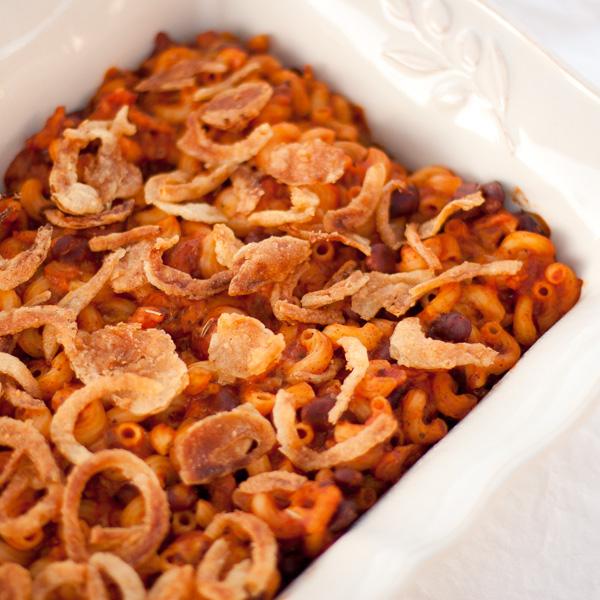 chili mac in the casserole dish