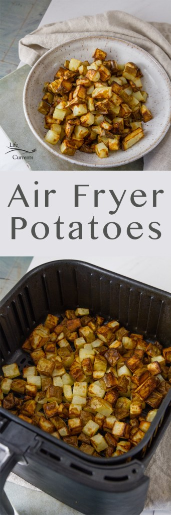 two images of Air Fryer Potatoes in a long pin for Pinterest with the title