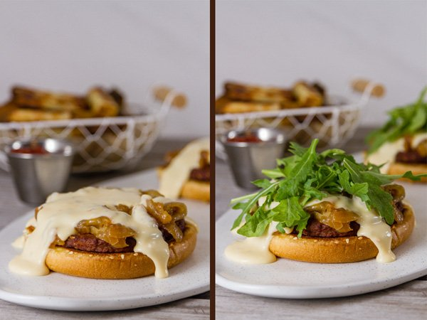Monster Cheese Burger  process shots: on the left, drizzle the pepper jack cheese sauce over the top; on the right: top with arugula