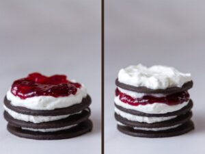 Chocolate Raspberry Icebox Cakes prosess shots, middle shots