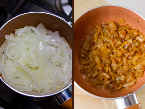 Caramelized onions for Monster Cheese Burger: on the left raw onions ready to be cooked, on the right cooked onions in the pan