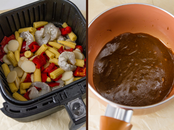 Air Fryer Kung Pao Shrimp process shots. raw veggies and shrimp in the air fryer basket on the left and the Kung Pao sauce in the pan on the right