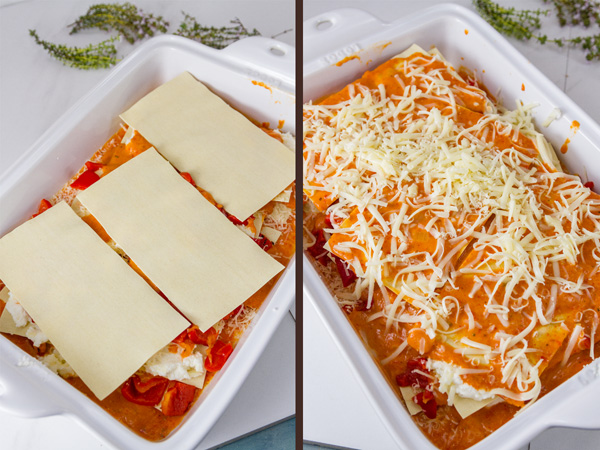 how to make Red Pepper Lasagna - step by step