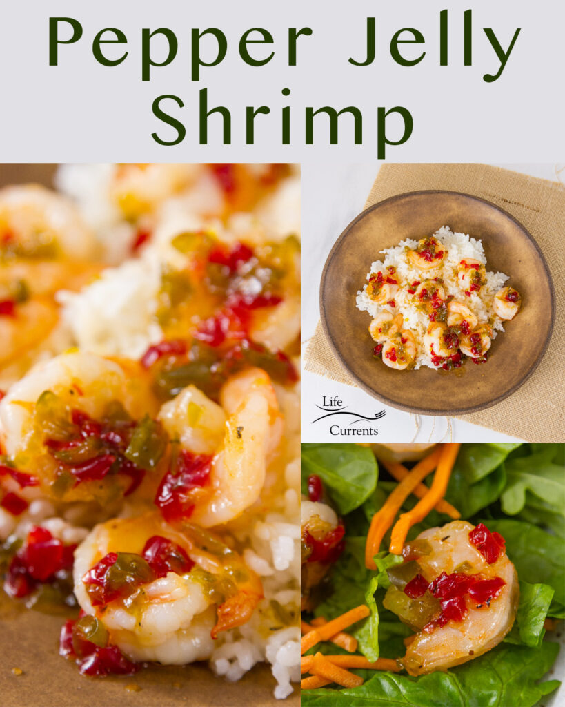 collage of 3 photos with title on top: Pepper Jelly Shrimp. close up on left, served on spinch on bottom right, and top down in a bowl on the upper left