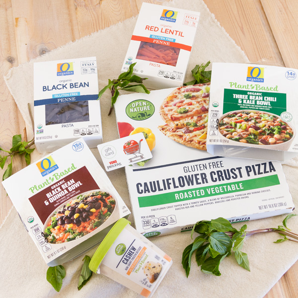 Several boxes of O Organics Plant based products, and a gift card to Vons
