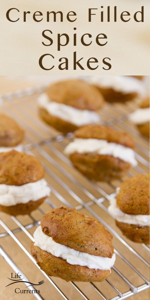 Title on image: Creme Filled Spice Cakes. Cakes cooling on a rack