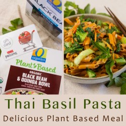 square crop of collage of images for Thai Basil Pasta with title