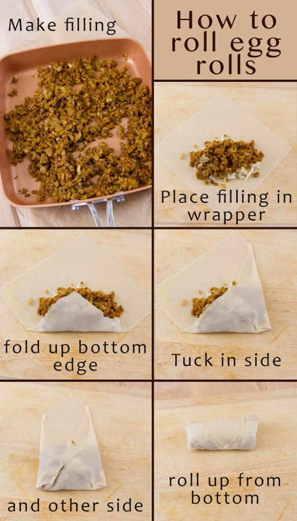 how to roll an egg roll with 6 images and titles