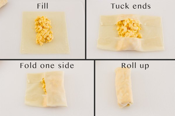 How to roll and fill Mac and Cheese Egg Rolls