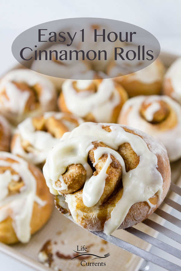 title on upper part of image: Easy 1 Hour Cinnamon Rolls with a roll being lifted out of the pan of iced rolls
