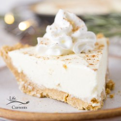 featured image of a slice of pie, square crop with twinkle lights behind