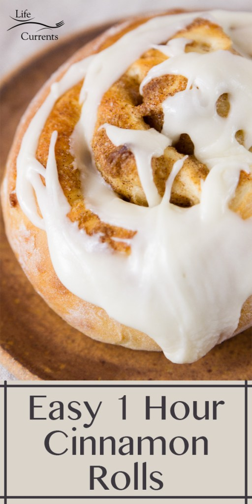title on bottom of image: Easy 1 Hour Cinnamon Rolls, close up of one cinnamon rolls