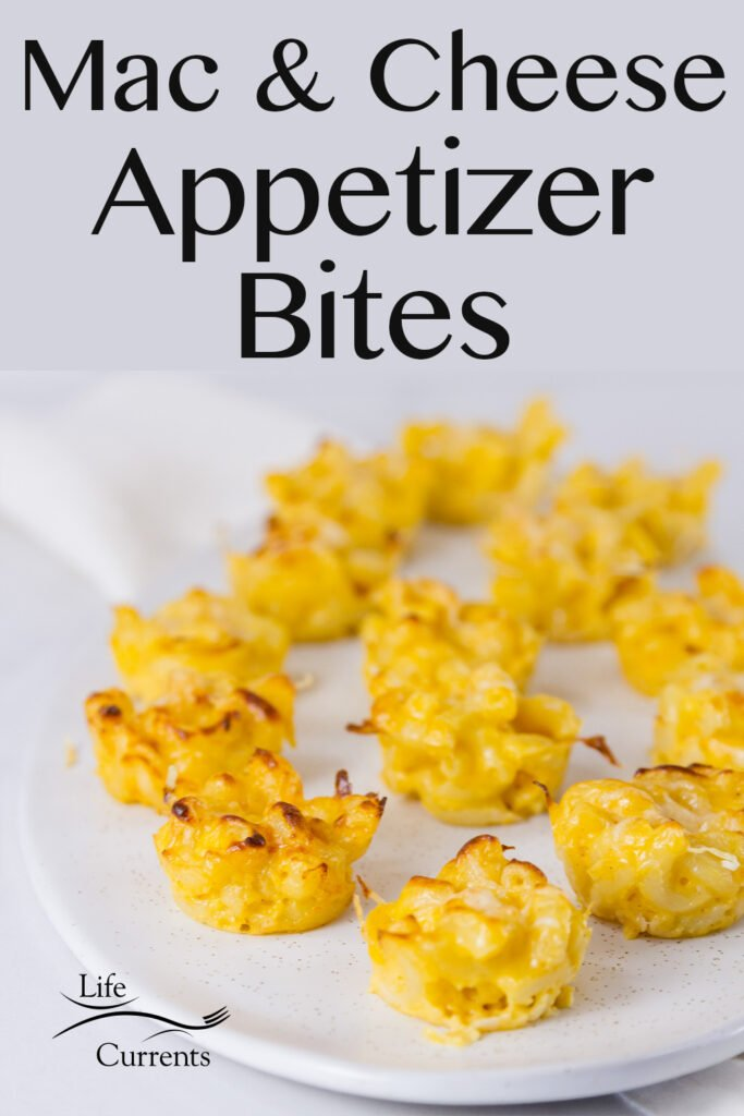 Mac & Cheese Appetizer Bites on a white serving platter with title on top of image