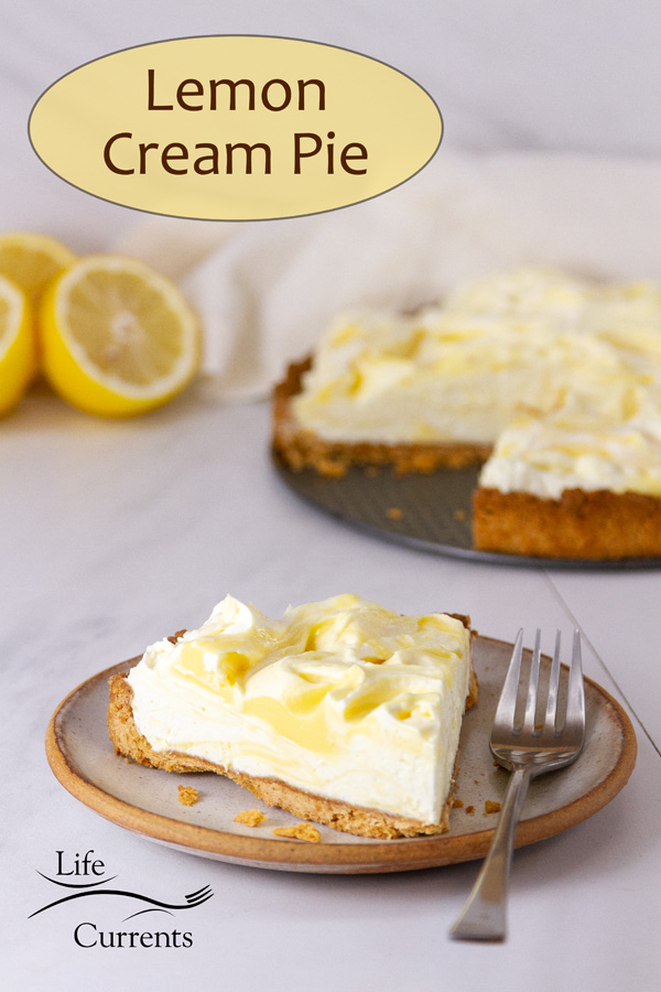 a slice of pie on a plate with a fork in front of the rest of the pie and some sliced lemons.