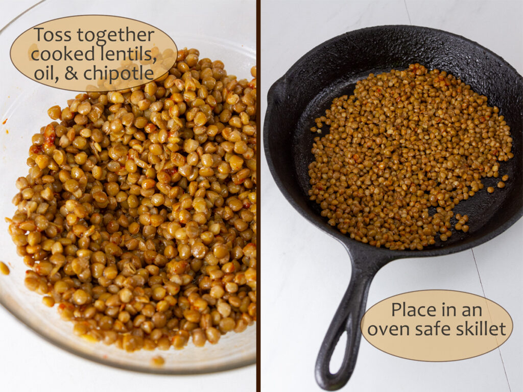 process shots for how to roast lentils.