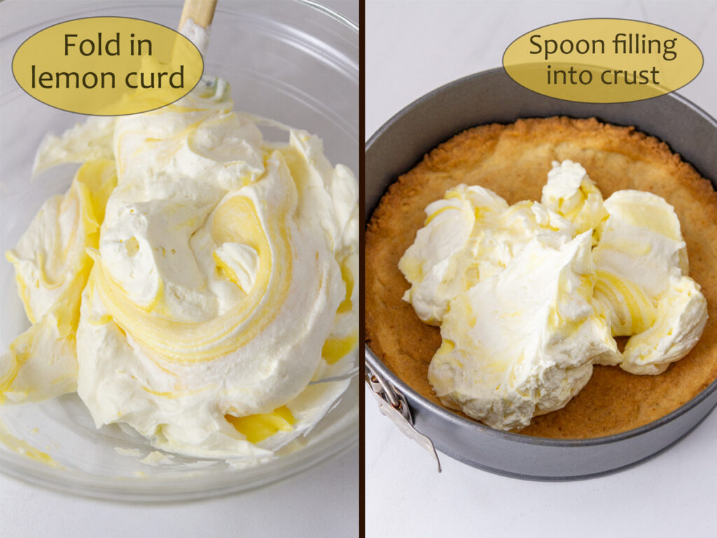 How to make Lemon Cream Pie, process shots: fold lemon curd into whipped cream and place in baked pie crust.