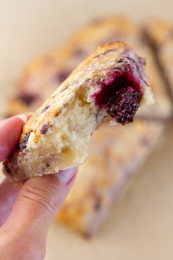 a scone with a bite tasken out of it so you can see the texture inside.