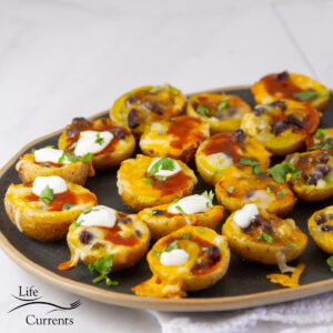 square crop of potato skins on a black serving tray.