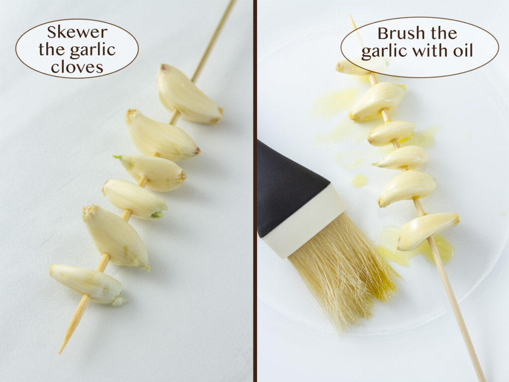 how to make this dip: garlic on a skewer