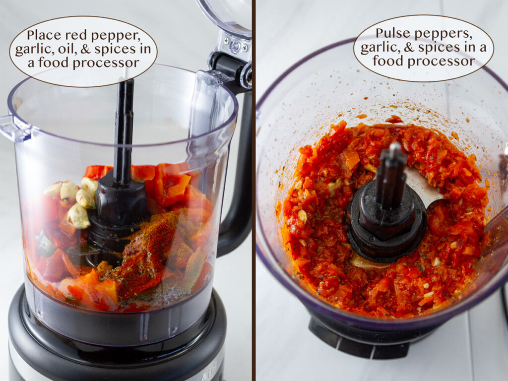 pulsing the ingredients in the food processor