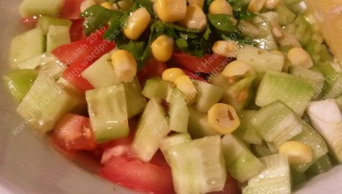 Restaurant shepherds salad with sweetcorn